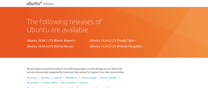 a section of the design for releases.ubuntu.com