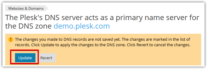 Apply DNS modification on Plesk Onyx