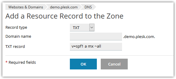 Add SPF record on Plesk Onyx