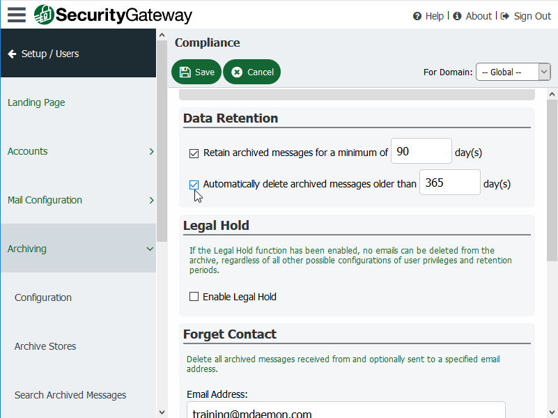 Automatic Deletion of Archived Email Messages