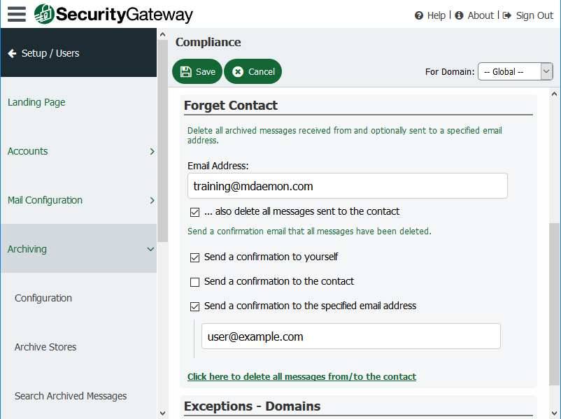 Security Gateway for Email Servers - Forget Contact